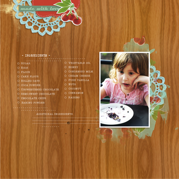 Family Favorite Recipes digital Layout by MlleTerraMoka using Kitschy Kitchen by Jennifer Barrette and Sahlin Studio