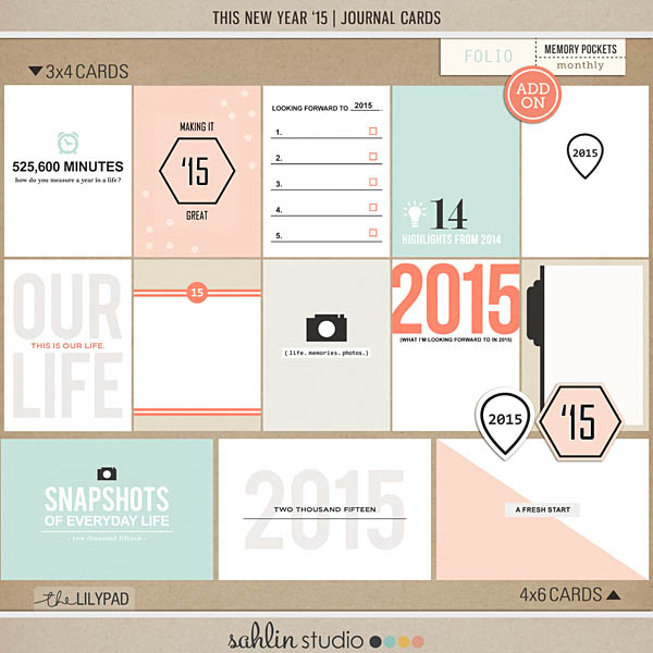 this new year ' 15 (journal cards) by sahlin studio Perfect to use on your cover or in your Project Life album!!