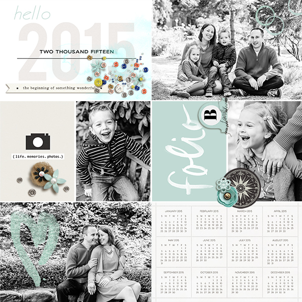 Hello 2015 digital pocket scrapbooking page by Arumrose using This New Year (MPM Folio Add-on) by Sahlin Studio