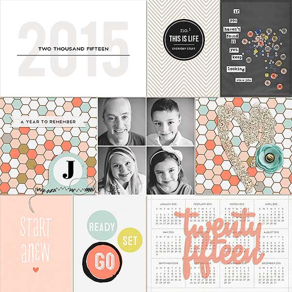Twenty Fifteen digital pocket scrapbooking page by FarrahJobling using This New Year (MPM Folio Add-on) by Sahlin Studio