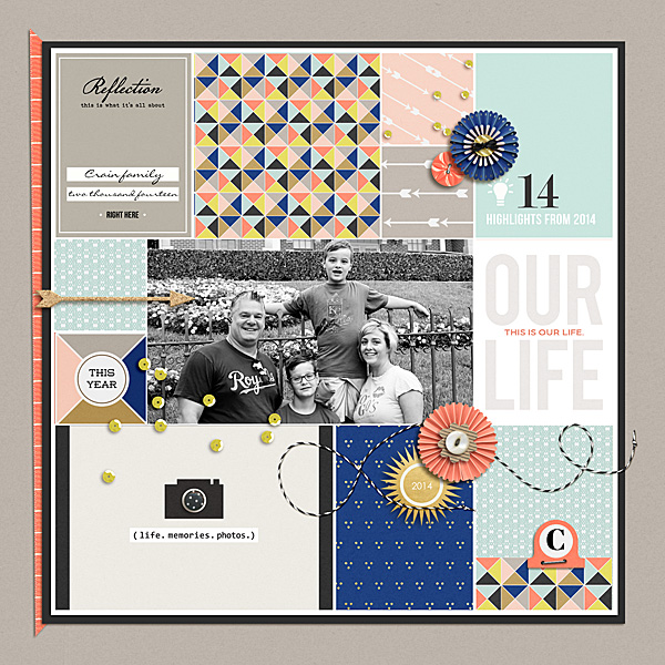 Our Life digital pockets scrapbooking page by NancyBeck using This New Year (MPM Folio Add-on) by Sahlin Studio