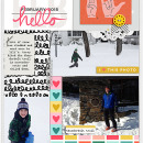 Hello Feb digital pocket scrapbooking page by Celeste using MPM Hello and Add Ons by Sahlin Studio