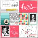 Hello Feb digital pocket scrapbooking page by FarrahJobling using MPM Hello and Add Ons by Sahlin Studio