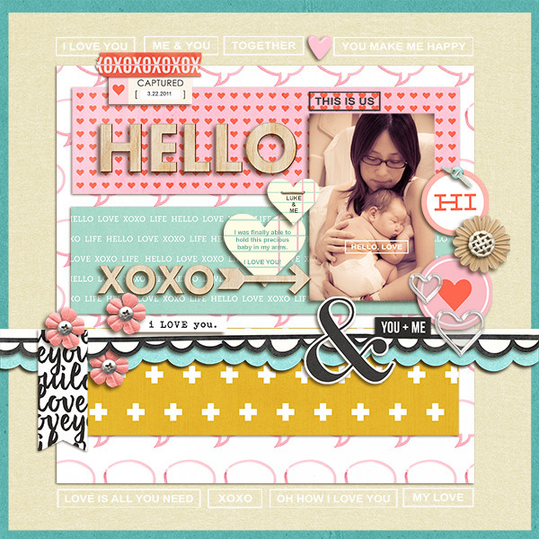 Hello digital scrapbooking page by mikinenn using MPM Hello and Add Ons by Sahlin Studio
