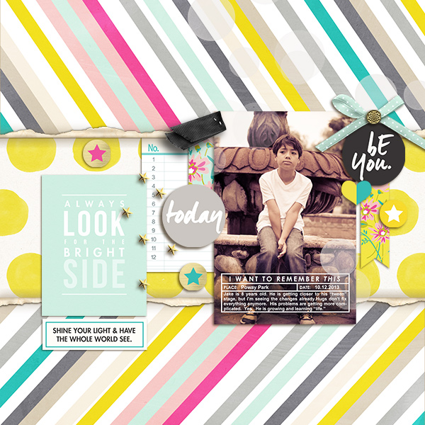 Be You digital scrapbooking page by mikinenn featuring Photo Journal No. 1 (Word Arts & Templates) by Sahlin Studio