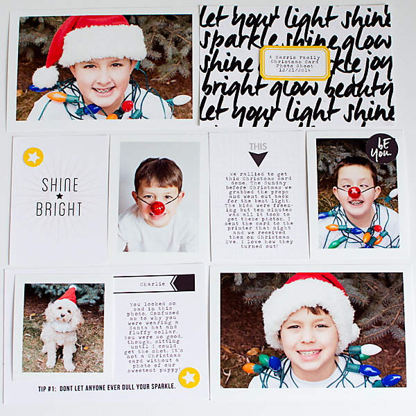 Let Your Light Shine Project Life page by carolee featuring Shine Bright Kit and Journal Cards by Sahlin Studio