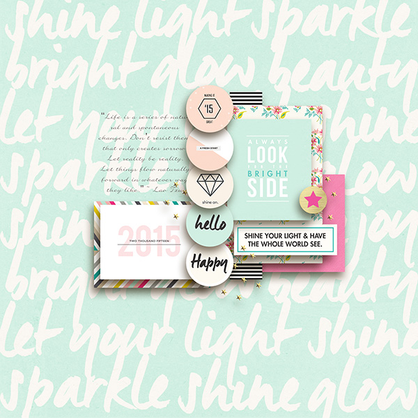 Shine digital scrapbooking page by margelz featuring Shine Bright Kit and Journal Cards by Sahlin Studio