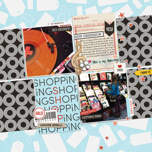Shopping digital scrapbooking page by HeatherPrins using Project Mouse (SouvenEARS) by Britt-ish Designs and Sahlin Studio