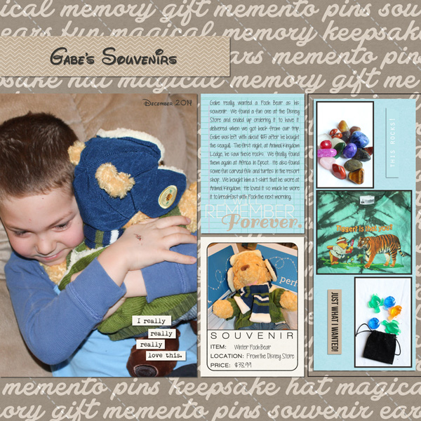 Gabe's Souvenirs digital scrapbooking page by mnjenlittle using Project Mouse (SouvenEARS) by Britt-ish Designs and Sahlin Studio