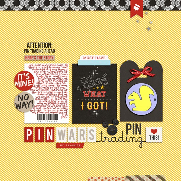 Disney Pin Trading digital scrapbooking page by neeceebee using Project Mouse (SouvenEARS) by Britt-ish Designs and Sahlin Studio