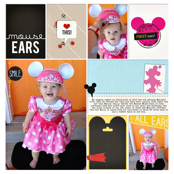 First Disney Mouse ears digital scrapbooking page by Cami using Project Mouse (SouvenEARS) by Britt-ish Designs and Sahlin Studio