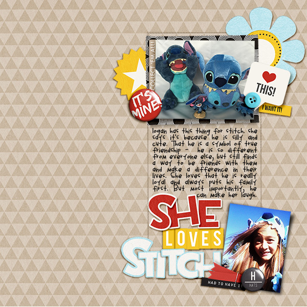 She Love Stitch digital scrapbooking page by natasha using Project Mouse (SouvenEARS) by Britt-ish Designs and Sahlin Studio
