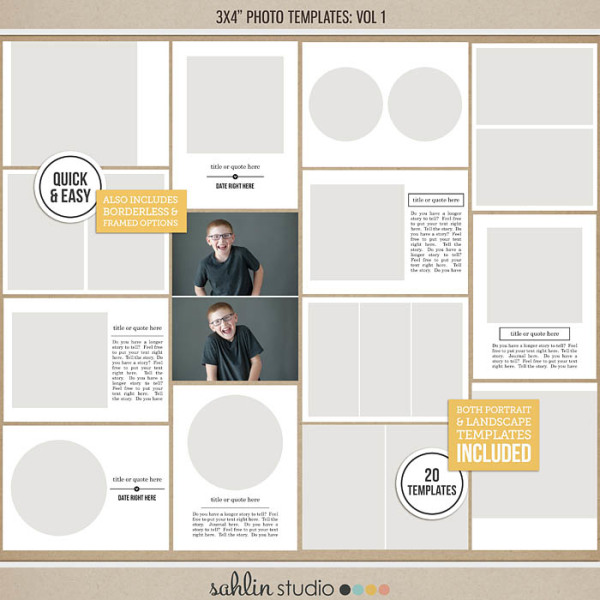 3x4 Photo Templates Vol 1 by Sahlin Studio - Perfect for your Project Life album!!
