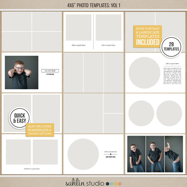 4x6 Photo Templates Vol 1 by Sahlin Studio - Perfect for your Project Life album!!