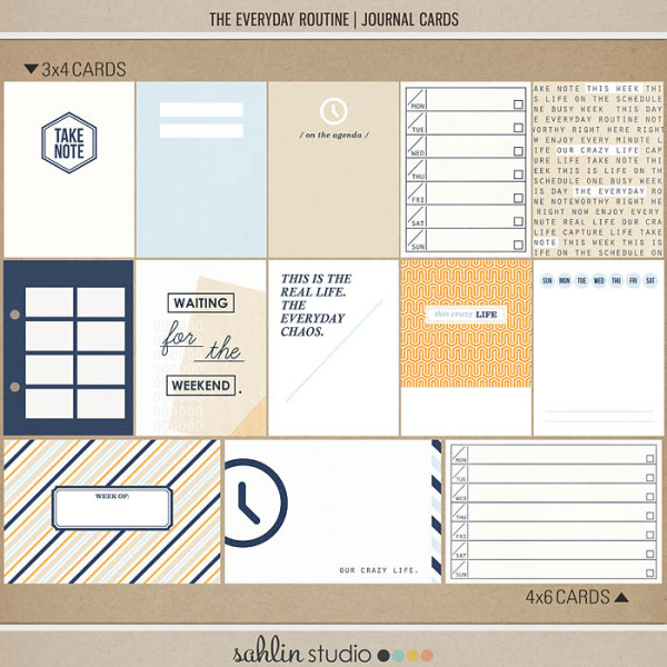 The Everyday Routine (Journal Cards) by Sahlin Studio - Perfect for your Project Life album!!