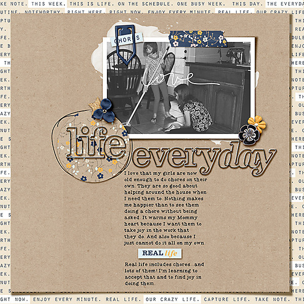 Life Everyday digital scrapbooking page by dailydwelling using The Everyday Routine by Sahlin Studio