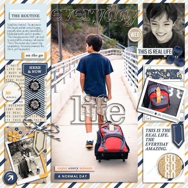 Life digital scrapbooking page by mikinenn using The Everyday Routine by Sahlin Studio