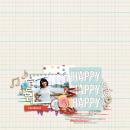 Happy Happy Happy digital scrapbooking page by RaquelS using Birthday Cake by Sahlin Studio
