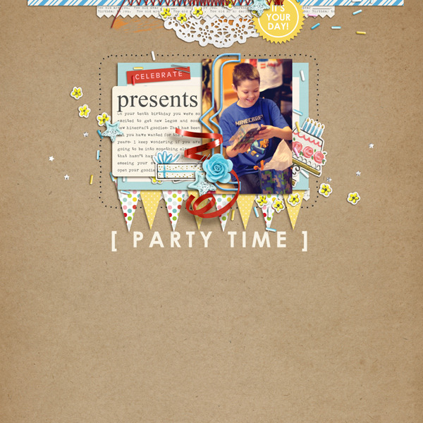 Party Time digital scrapbooking page by crystalbella77 using Birthday Cake by Sahlin Studio