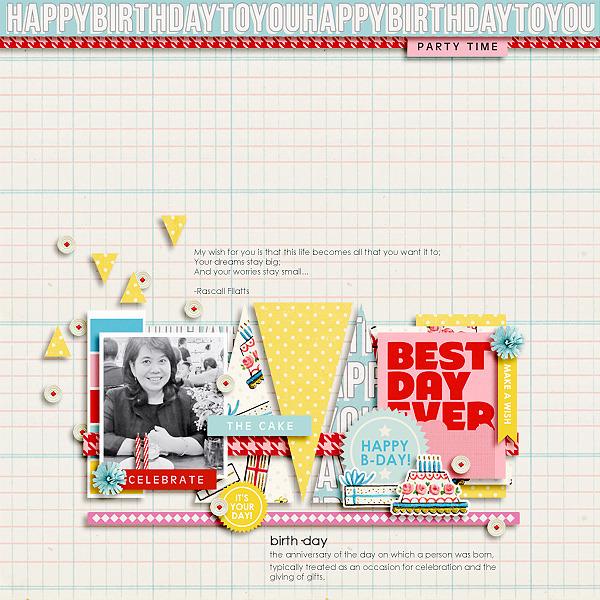 Birthday digital scrapbooking page by icajovita using Birthday Cake by Sahlin Studio