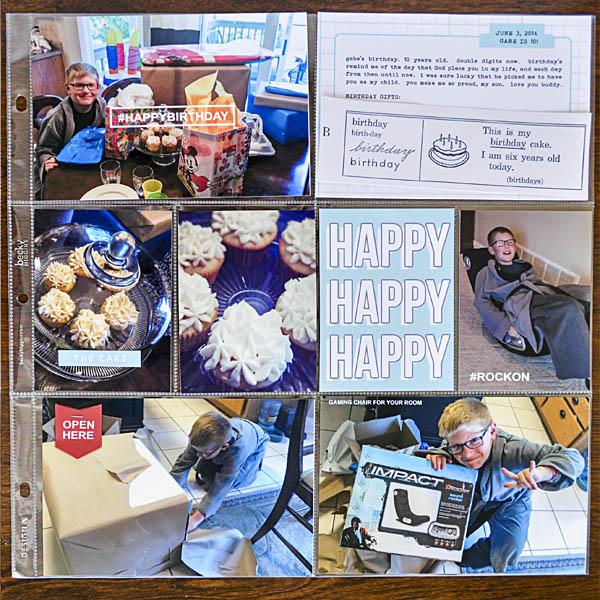 Happy Birthday hybrid scrapbooking page by kristasahlin using Birthday Cake by Sahlin Studio