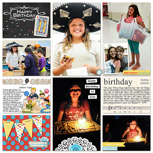 Birthday Wishes digital pocket scrapbooking page by kv2av using Birthday Cake by Sahlin Studio