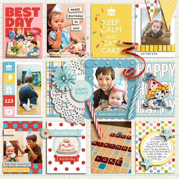Happy Birthday digital pocket scrapbooking page by mikinenn using Birthday Cake by Sahlin Studio