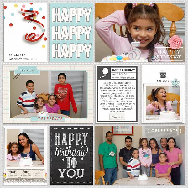 Happy Birthday digital pocket scrapbooking double page by mrivas2181 using Birthday Cake by Sahlin Studio