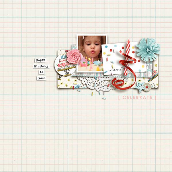 Celebrate digital scrapbooking page by sucali using Birthday Cake by Sahlin Studio