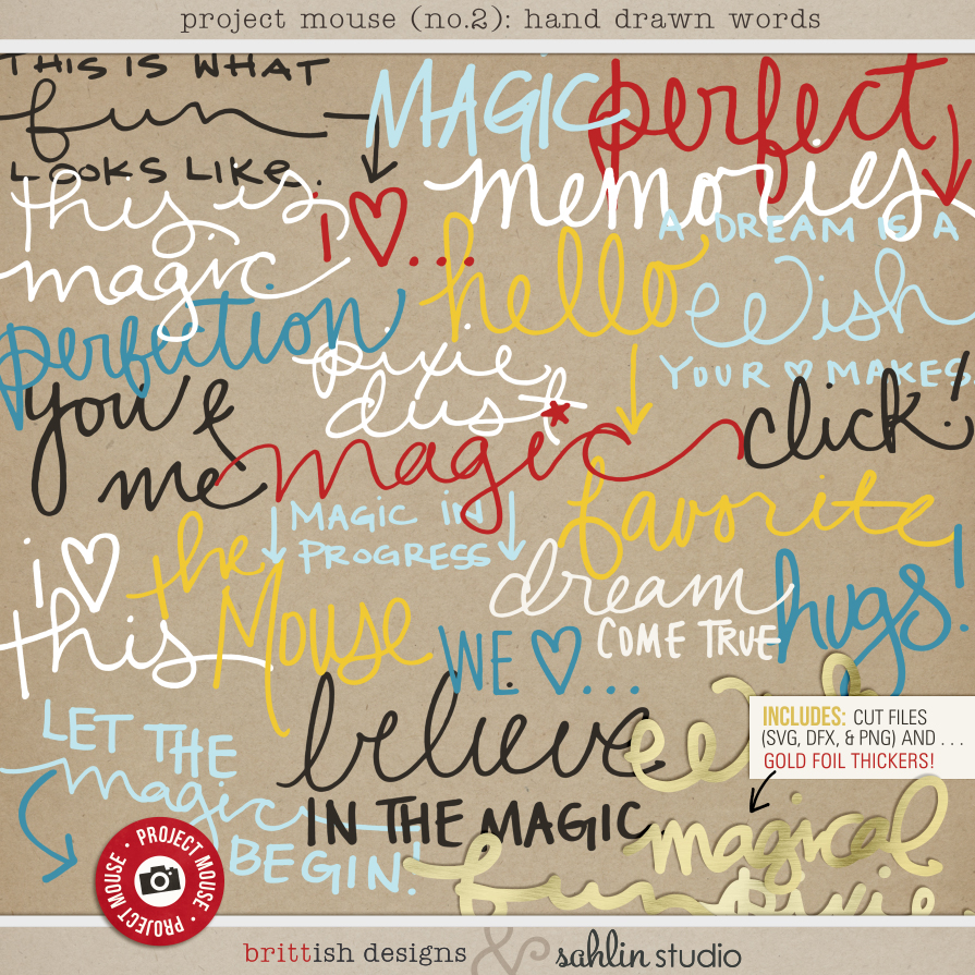 Project Mouse: Hand Drawn Words by Britt-ish Designs & Sahlin Studio & Perfect for your Disney Project Life album!