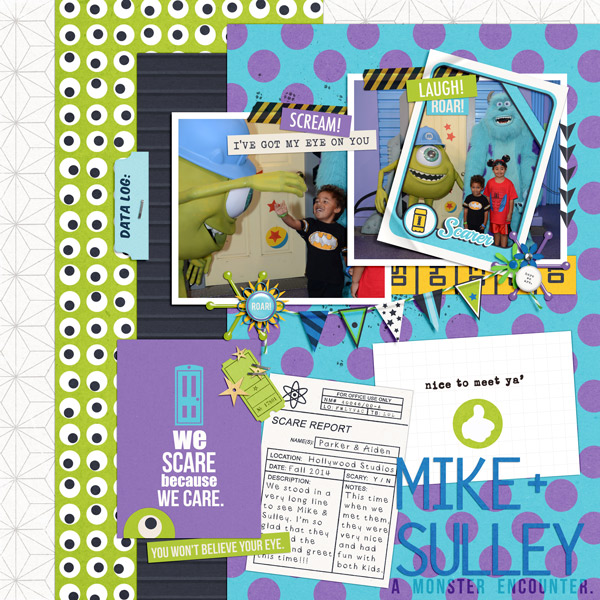 monsters, inc digital scrapbooking created by PuSticks featuring March 2015 FREE Template by Sahlin Studio