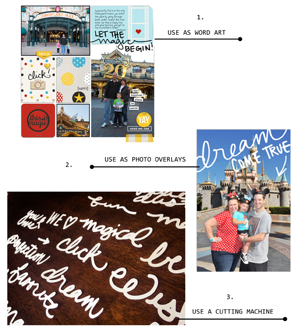 Using Project Mouse: Hand Drawn Words by Britt-ish Designs & Sahlin Studio - CUT Files, word art, Photo Overlays - Perfect for your Disney Project Life album!
