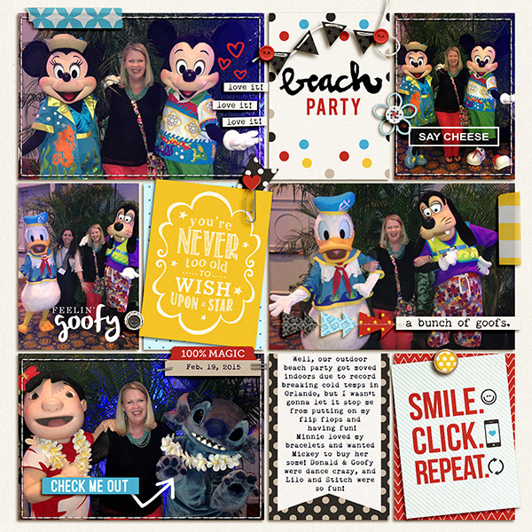 Beach Party Disney digital Project Life pocket scrapbooking page by JulieL using Project Mouse Basics (No.2) by Britt-ish Designs & Sahlin Studio
