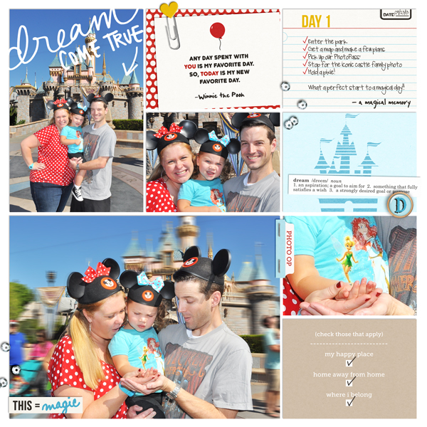 Disney Day 1 digital Project Life pocket scrapbooking page by britt using Project Mouse Basics (No.2) by Britt-ish Designs & Sahlin Studio