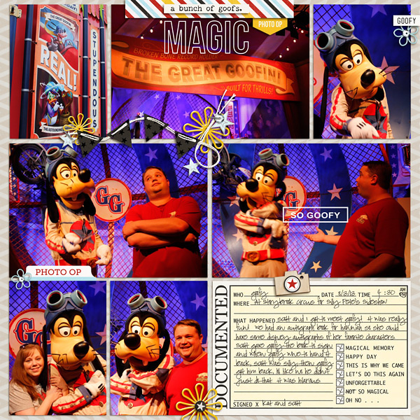 Disney Goofy Meet and Greet digital Project Life pocket scrapbooking page by kat using Project Mouse Basics (No.2) by Britt-ish Designs & Sahlin Studio