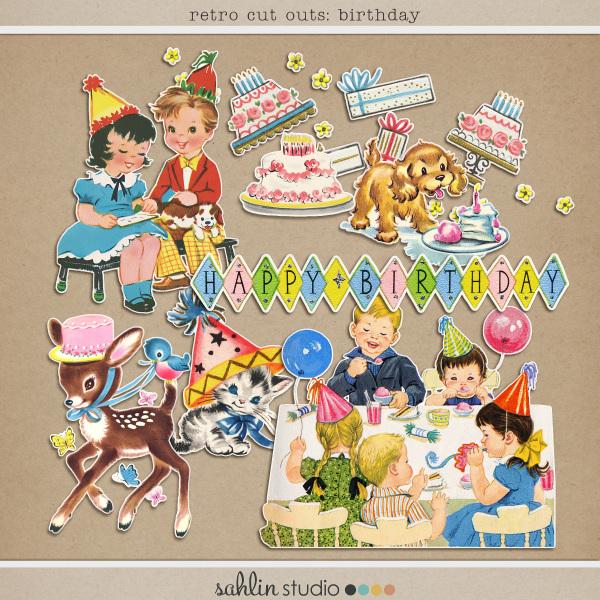 Retro Cut Outs: Birthday by Sahlin Studio
