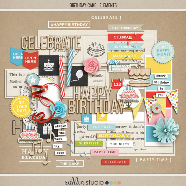 birthday cake (elements) by sahlin studio Perfect for digital scrapbooking or Project Life albums!