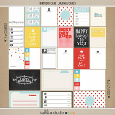 birthday cake (journal cards) by sahlin studio Perfect for digital scrapbooking or Project Life albums!