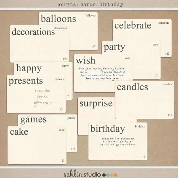 Journal Cards: Birthday by Sahlin Studio