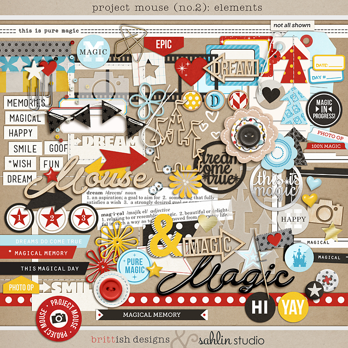 Project Mouse (No.2): Elements by Britt-ish Designs & Sahlin Studio & Perfect for your Disney Project Life album!