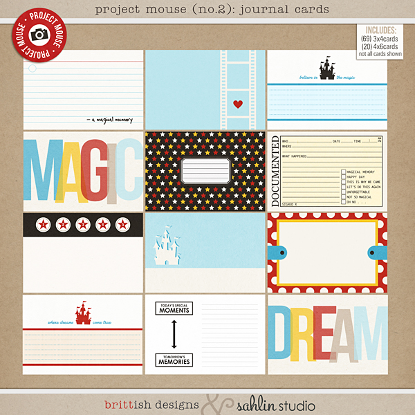 Project Mouse (No.2): Journal Cards by Britt-ish Designs & Sahlin Studio & Perfect for your Disney Project Life album!