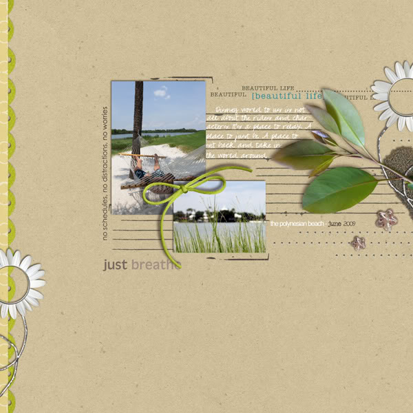 Beach Digital Scrapbook Layout using Rejuvenate by Sahlin Studio