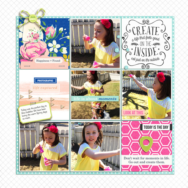 Beautiful Project Life page by HeatherPrins - using CREATE (Kit Sampler) by Sahlin Studio - AddOn to Memory Pocket Monthly MPM Subscription