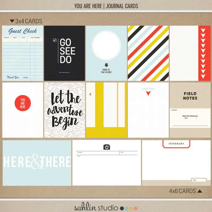 you are here (journal cards) by Sahlin Studio - Perfect for your Project Life or travel album!!