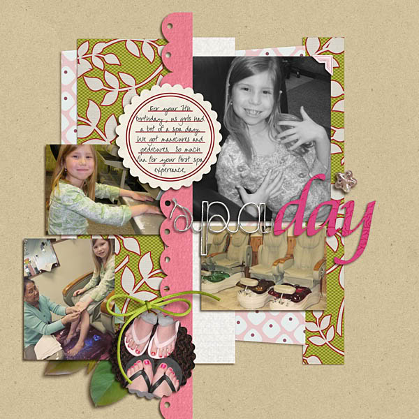 Spa Day Digital Scrapbook Layout using Rejuvenate by Sahlin Studio