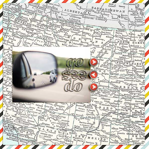 "Travel digital scrapbook layout by FarrahJobling using ""You Are Here"" collection by Sahlin Studio"