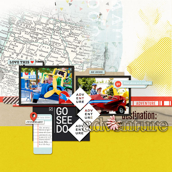 """Go See Do - Travel digital scrapbook layout by amberr using """"You Are Here"""" collection by Sahlin Studio"""