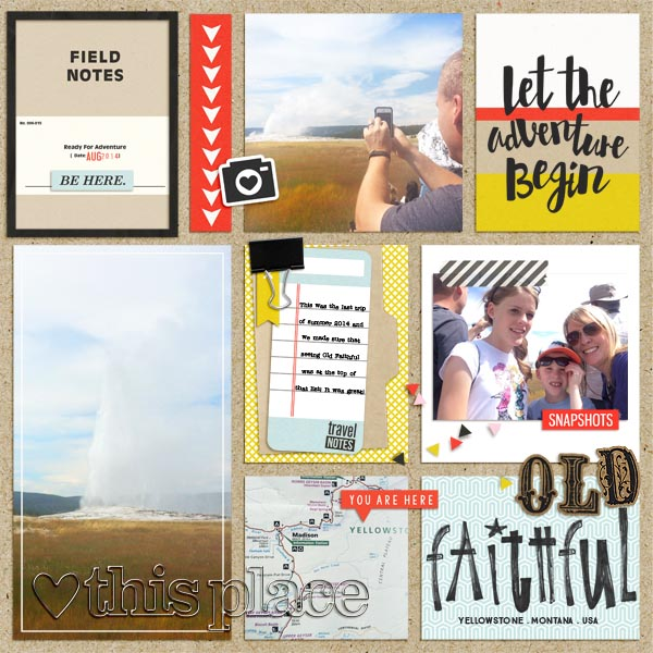 """Travel digital scrapbook layout by mamatothree using """"You Are Here"""" collection by Sahlin Studio"""