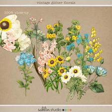 Vintage Glitter Florals by Sahlin Studio