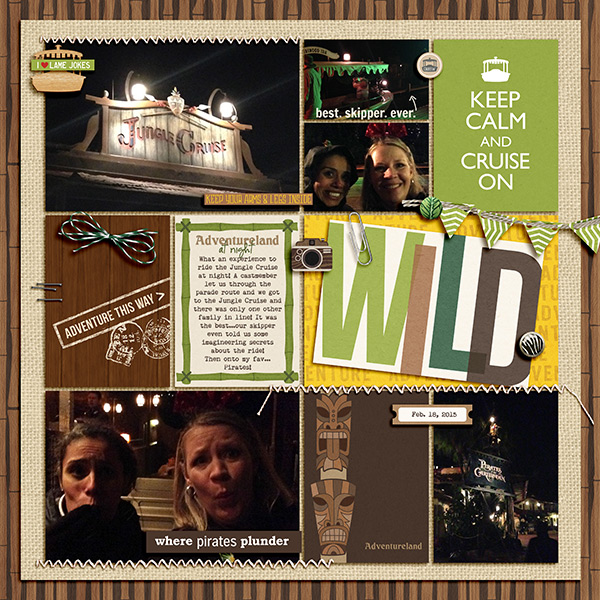 Disney Adventureland at night digital pocket scrapbooking page by julie  using Project Mouse (Adventure) by Britt-ish Designs and Sahlin Studio